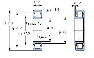Чертеж-схема подшипника NJ2212 EAP