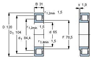 Чертеж-схема подшипника NJ2213 ECJ