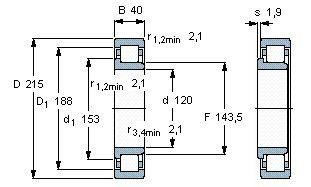 Чертеж-схема подшипника NJ224 ECP