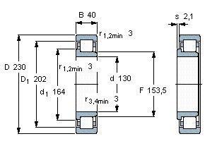 Чертеж-схема подшипника NJ226 ECJ