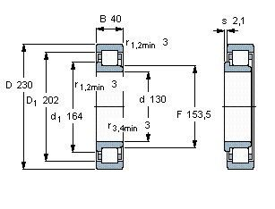 Чертеж-схема подшипника NJ226 ECP