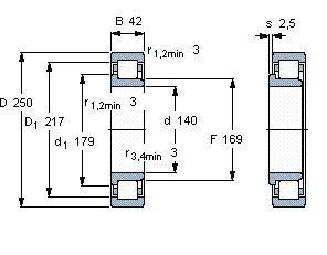 Чертеж-схема подшипника NJ228 ECJ
