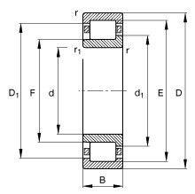 Чертеж-схема подшипника NJ230 ECJ