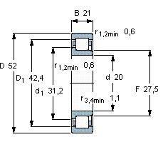 Чертеж-схема подшипника NJ2304 EJL