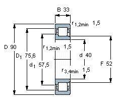Чертеж-схема подшипника NJ2308 EAP