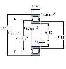 Чертеж-схема подшипника NJ2310 ECP