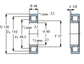 Чертеж-схема подшипника NJ2312 ECP