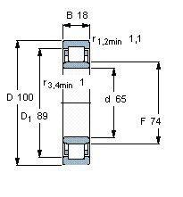 Чертеж-схема подшипника NU1013 M