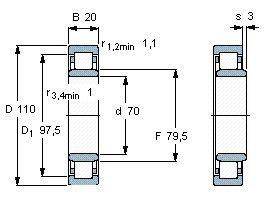 Чертеж-схема подшипника NU1014 ML