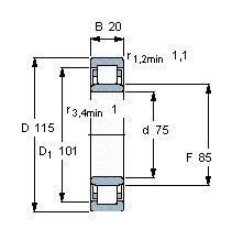 Чертеж-схема подшипника NU1015 M