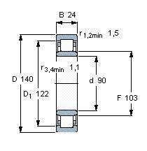 Чертеж-схема подшипника NU1018 M