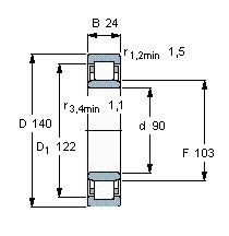 Чертеж-схема подшипника NU1018 ML