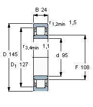 Чертеж-схема подшипника NU1019 M