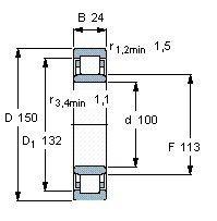 Чертеж-схема подшипника NU1020 ML