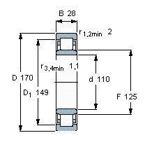 Чертеж-схема подшипника NU1022 M