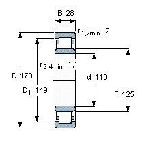 Чертеж-схема подшипника NU1022 ML