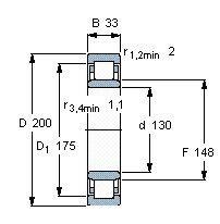 Чертеж-схема подшипника NU1026 ML