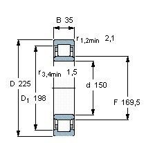 Чертеж-схема подшипника NU1030 ML