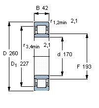 Чертеж-схема подшипника NU1034 ML