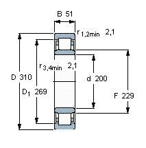 Чертеж-схема подшипника NU1040 ML