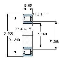 Чертеж-схема подшипника NU1052 ML