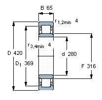 Чертеж-схема подшипника NU1056 ML