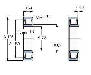 Чертеж-схема подшипника NU214 ECM