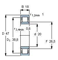 Чертеж-схема подшипника NU2204 EAP