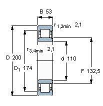 Чертеж-схема подшипника NU2222 ECML