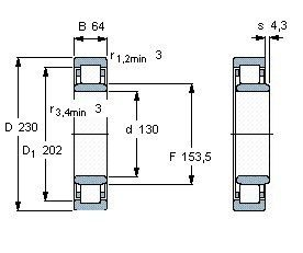 Чертеж-схема подшипника NU2226 ECML