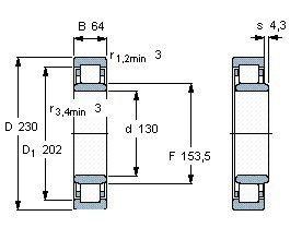 Чертеж-схема подшипника NU2226 ECP