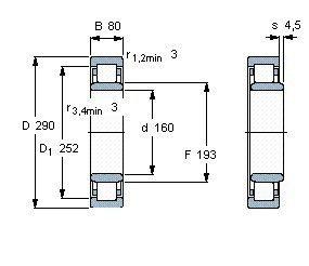 Чертеж-схема подшипника NU2232 ECML