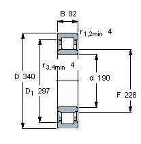Чертеж-схема подшипника NU2238 ECMA