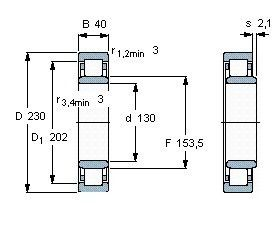 Чертеж-схема подшипника NU226 ECM