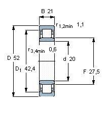 Чертеж-схема подшипника NU2304 ECP