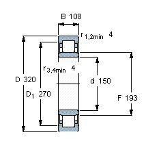 Чертеж-схема подшипника NU2330 ECMA