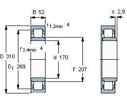 Чертеж-схема подшипника NU234 ECMA