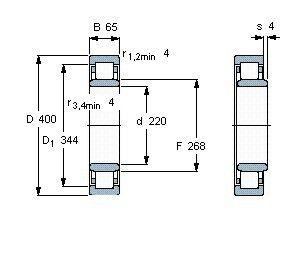 Чертеж-схема подшипника NU244 ECM