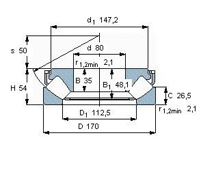 Чертеж-схема подшипника 29416 E