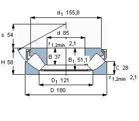 Чертеж-схема подшипника 29417 E