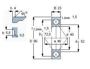 Чертеж-схема подшипника QJ308 TVP