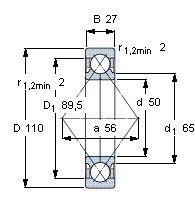 Чертеж-схема подшипника QJ310 MPA
