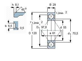 Чертеж-схема подшипника QJ311 MPA