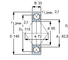 Чертеж-схема подшипника QJ313 MPA