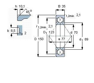 Чертеж-схема подшипника QJ314 MA