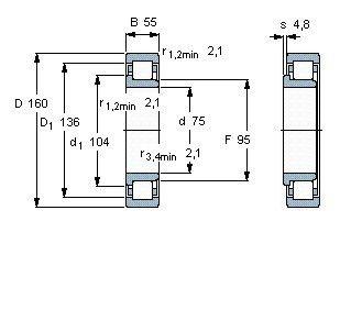 Чертеж-схема подшипника NJ2315 ECP