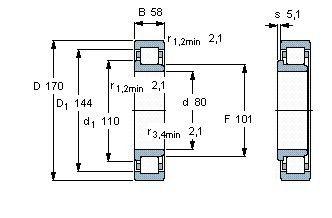 Чертеж-схема подшипника NJ2316 ECML