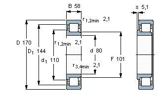 Чертеж-схема подшипника NJ2316 ECP