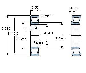 Чертеж-схема подшипника NJ240 ECMA