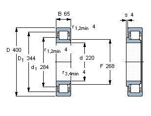 Чертеж-схема подшипника NJ244 ECMA